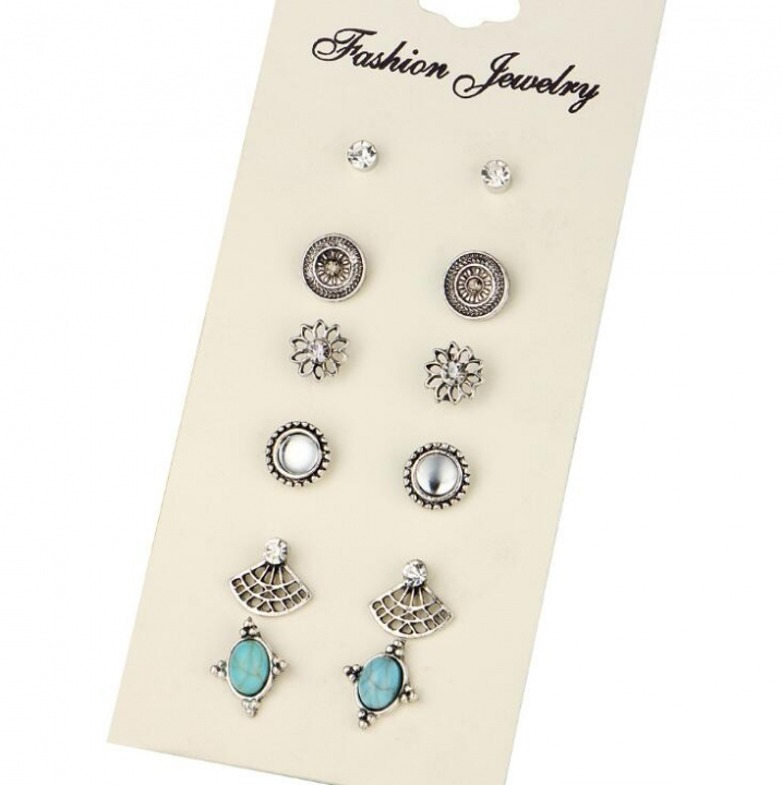 HN-6 Pair/Set New Fashion Ol quality flash drill Stud Drop Earrings For Women Jewellery Gift silver as picture