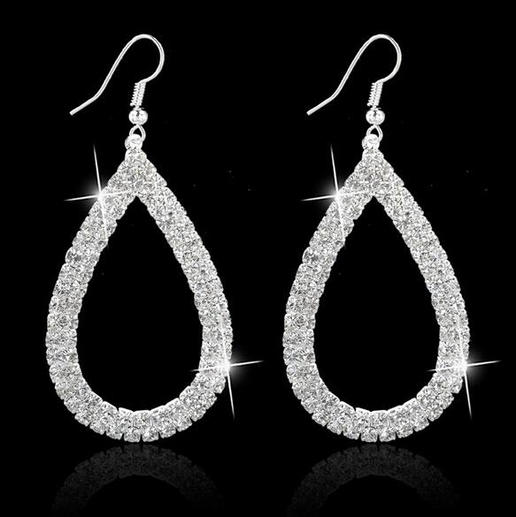 HN-1 Pair/Set New Fashion Hollow drill luxury Stud Drop Earrings For Women Jewellery Gift silver as picture