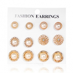 HN-6 Pair/Set New Fashion Diamond Flower Pearl luxury Stud Drop Earrings For Women Jewellery Gift gold as picture