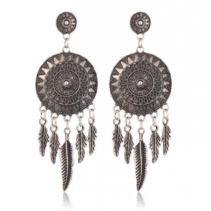 HN-1 Pair/Set New Fashion Dreamcatcher retro carved feathers Stud Drop Earrings Women Jewellery Gift silver as picture