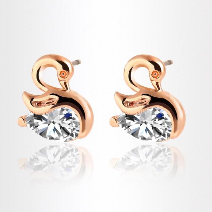 HN-1 Pair/Set New FashionCrystal zircon Swan Stud Drop Earrings For Women Jewellery Gift gold as picture