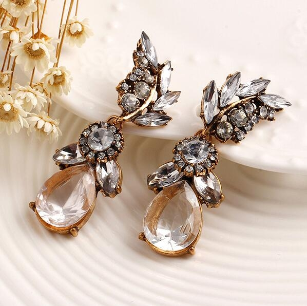 HN-1 Pair/Set New Fashion National style high-end Stud Drop Earrings For Women Jewellery Gift gold as picture