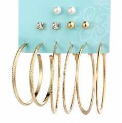 HN Brand 6 Pair/Set New Pearl Big Circuit Stud Drop Earrings For Women Jewellery Gift gold as picture