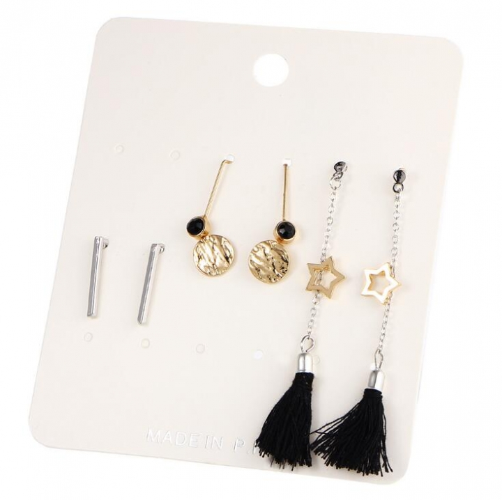 HN-5 Pair/Set New Fashion rounded vertical five pointed tassels Stud Drop Earrings For Women gold+silver as picture
