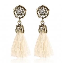 HN-1 Pair/Set New Fashion Velvet cotton retro Stud Drop Earrings For Women Jewellery Gift white as picture