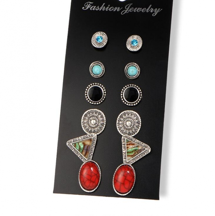 HN-6 Pair/Set New Fashion Diamond twist drill retro Stud Drop Earrings For Women Jewellery Gift silver 1 as picture