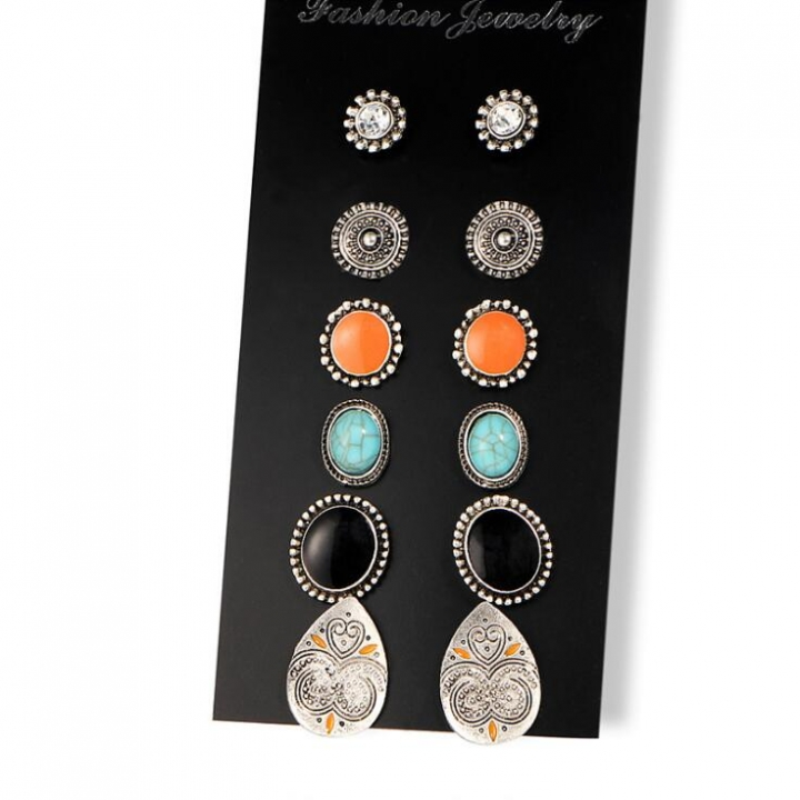 HN-6 Pair/Set New Fashion Diamond twist drill retro Stud Drop Earrings For Women Jewellery Gift silver 2 as picture