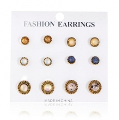 HN-6 Pair/Set New Fashion Retro jewel Stud Drop Earrings For Women Jewellery Gift gold as picture