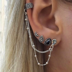 HN-4 Piece/Set New Fashion Velvet cotton retro Stud Drop Earrings For Women Jewellery Gift silver as picture