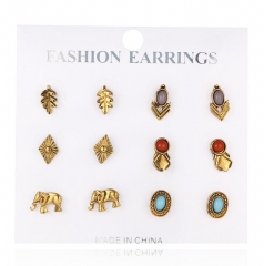 HN-6 Pair/Set New Fashion Retro gem elephant Stud Drop Earrings For Women Jewellery Gift gold as picture