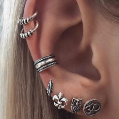 HN-7 Piece/Set New Fashion Bohemia retro anchor leaf Owl Stud Drop Earrings For Women Jewellery Gift silver as picture