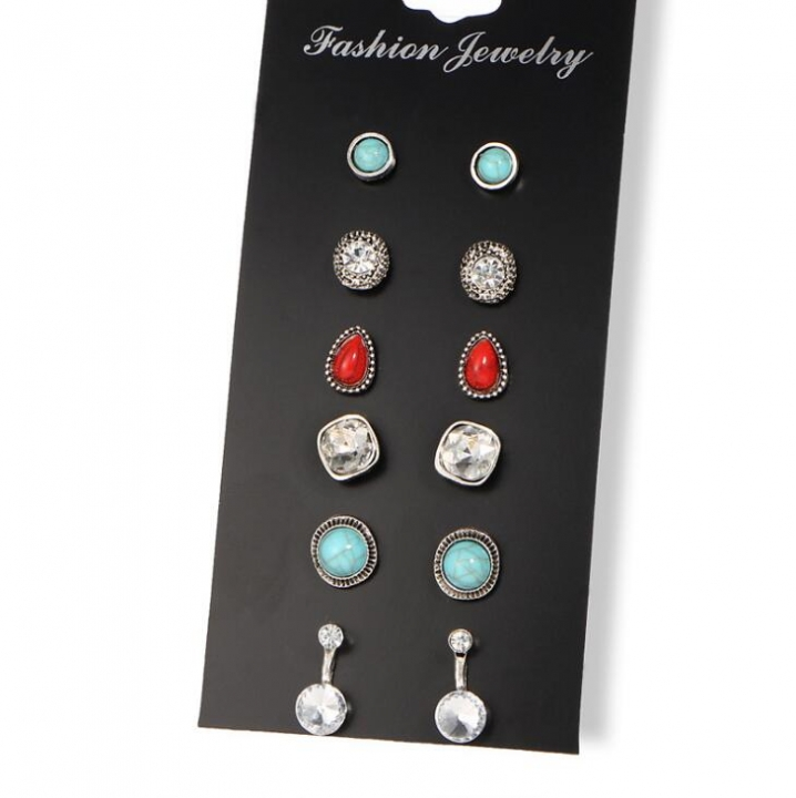 HN-6 Pair/Set New Fashion Turquoise retro Stud Drop Earrings For Women Jewellery Gift silver as picture