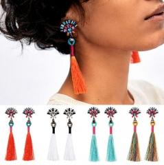 HN-1 Pair/Set New Fashion Bride brief handmade diamond Stud Drop Earrings For Women Jewellery Gift Orange as picture