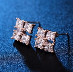 HN-1 Pair/Set New Fashion Tetragonal zircon Stud Drop Earrings For Women Jewellery Gift gold as picture