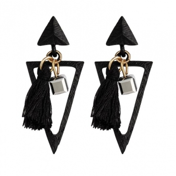 HN-1 Pair/Set New Fashion Bohemia national wind triangle Stud Drop Earrings For Women Jewellery Gift black as picture