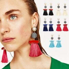 HN-1 Pair/Set New Fashion Hand winding lint cotton meter Stud Drop Earrings For Women Jewellery Gift blue as picture