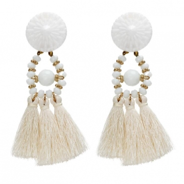 HN-1 Pair/Set New Fashion Fringed quartz meter Stud Drop Earrings For Women Jewellery Gift white as picture