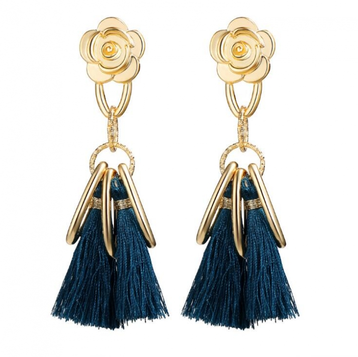 HN-1 Pair/Set New Fashion Retro flowers national meter Stud Drop Earrings For Women Jewellery Gift blue as picture