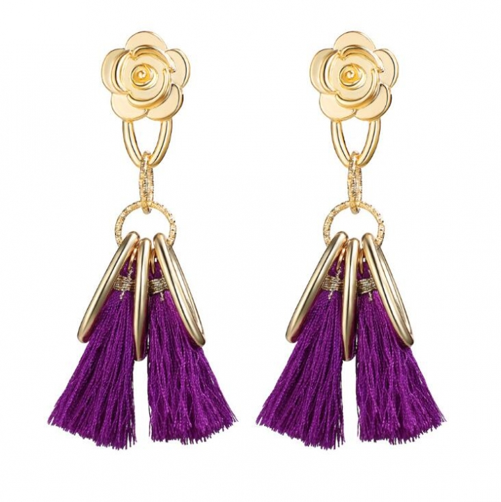 HN-1 Pair/Set New Fashion Retro flowers national meter Stud Drop Earrings For Women Jewellery Gift purple as picture