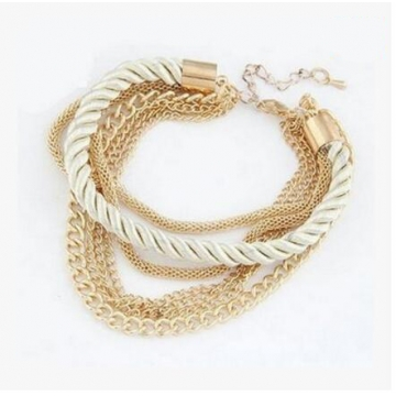HN-1 Piece/Set New Fashion Multilayer braided metal chain Metal Bracelets Bangles Women Jewellery white as picture