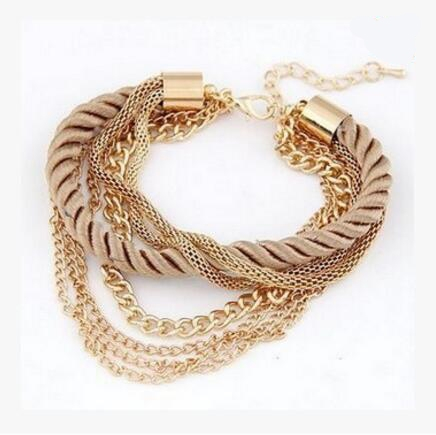 HN-1 Piece/Set New Fashion Multilayer braided metal chain Metal Bracelets Bangles Women Jewellery brown as picture
