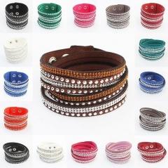 HN-1 Piece/Set New Fashion multi winding woven leather flannelette Bracelets Bangles Women Jewellery pink as picture