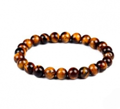 HN-1 Piece/Set New Fashion Retro Obsidian fused with beads of rock Metal Bracelets Bangles Women Men brown as picture