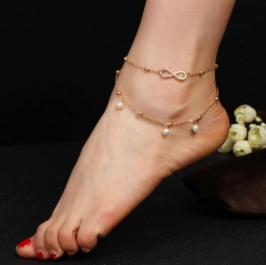 HN-1 Piece/Set New Pearl Anklet 8 words Hand Beaded double layer Bracelets Bangles Women Jewellery gold as picture