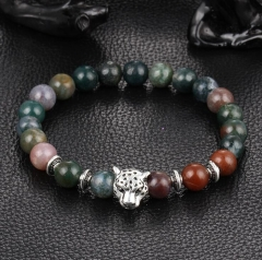 HN-1 Piece/Set New Natural volcanic stone leopard head Bracelets Bangles Women Men Jewellery Colorful as picture