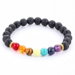 HN-1 Piece/Set New 8mm energy volcano stone colorful beads hand Bracelets Bangles Men Jewellery Black as picture