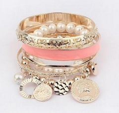 HN-1 Piece/Set New Metal All-match multilayer hollow Pearl Bracelets Bangles Women Men Jewellery Pink as picture