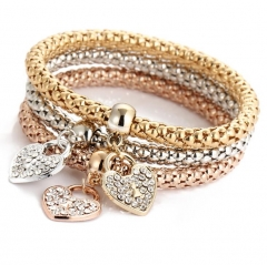 HN-1 Piece/Set New Metal Spring maize with love Bracelets Bangles Women Men Jewellery gold as picture