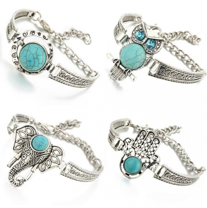HN-1 Piece/Set New Metal Retro Bohemia wind Turquoise Bracelets Bangles Women Men Jewellery Owl as picture