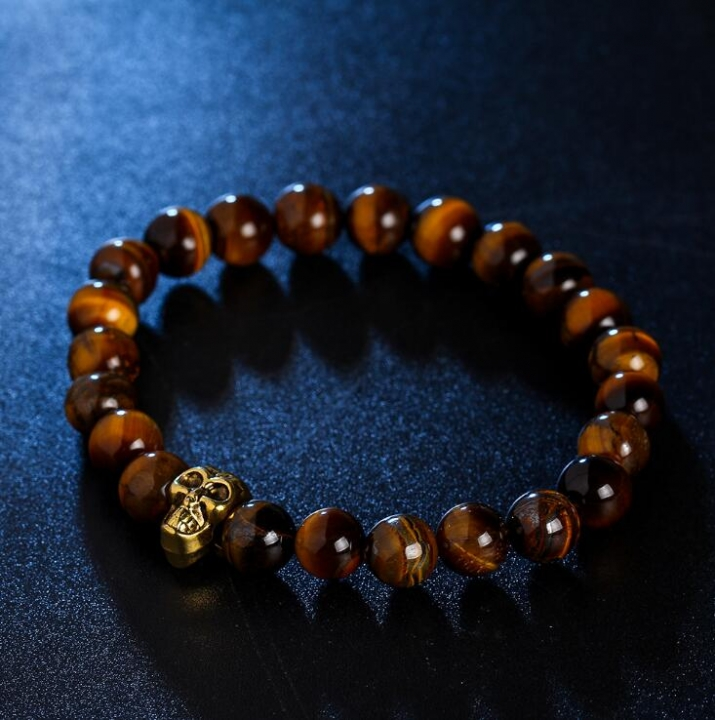 HN-1 Piece/Set New Metal Skull of natural stone Bracelets Bangles Women Men Jewellery brown as picture