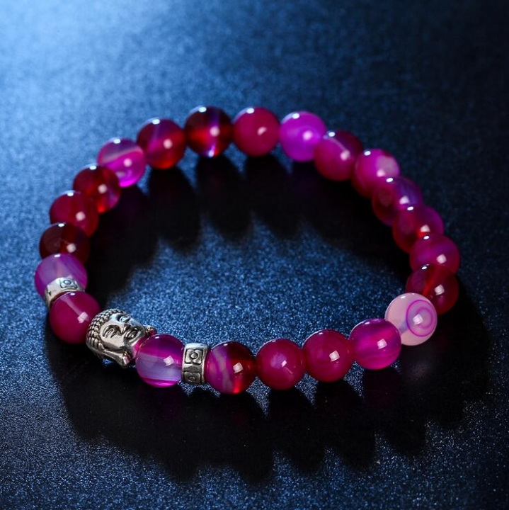 HN-1 Piece/Set New Metal natural stone silver Buddha statue Bracelets Bangles Women Jewellery red as picture