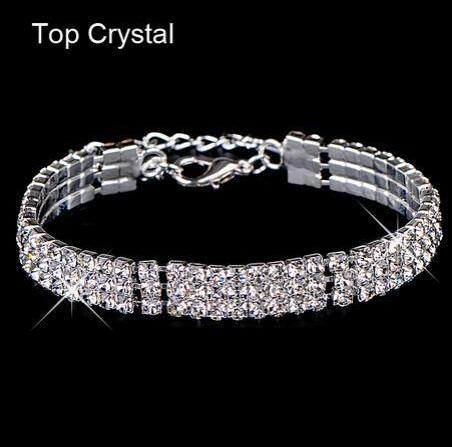 HN-1 Piece/Set New Colorful Diamond drill style Bracelets Bangles Women Men Jewellery silver as picture