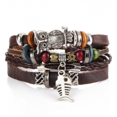 HN-1 Piece/Set New Leather multilayer alloy owl fish woven Bracelets Bangles Women Men Jewellery brown as picture