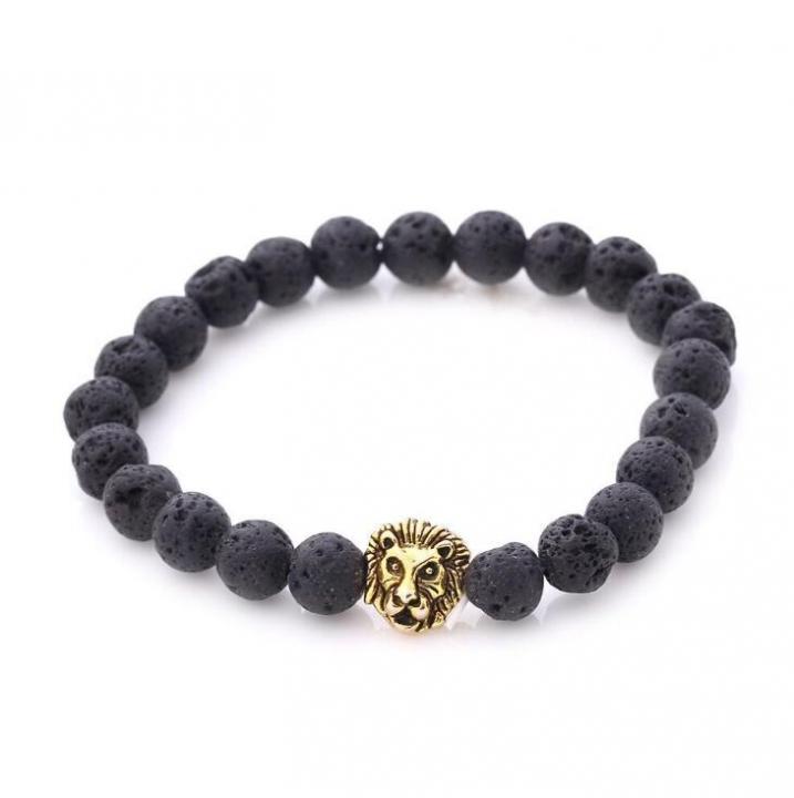 HN-1 Piece/Set New Bohemia Lava stone lion head Bracelets Bangles Women Men Jewellery gold as picture