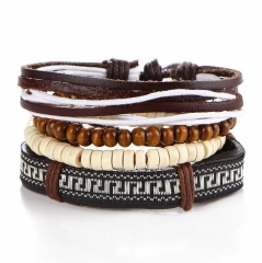HN-1 Piece/Set New Fashion Wooden bead leather rope braid Bracelets Bangles Women Men Jewellery brown as picture