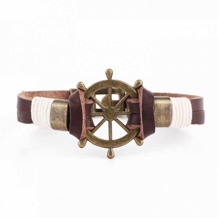 HN-1 Piece/Set New Fashion Bohemia Rudder leather rope Bracelets Bangles Women Men Jewellery brown as picture