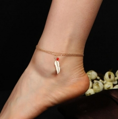 HN-1 Piece/Set New Fashion Double bead feather leaf Anklet Bracelets Bangles Women Jewellery gold as picture