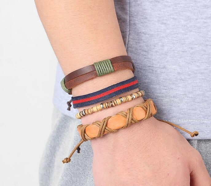 HN-1 Piece/Set New Fashion Bohemia Multi layer hand woven leather Bracelets Bangles Men Jewellery brown as picture
