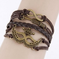 HN-1 Piece/Set New Fashion Mask hand cortex multilayer Bracelets Bangles Women Men Jewellery brown as picture