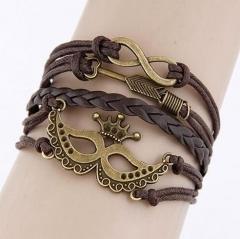 HN-1 Piece/Set New Fashion Mask hand cortex multilayer Bracelets Bangles Women Men Jewellery brown as picture