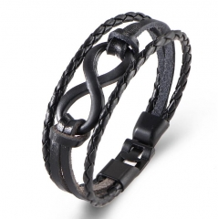 HN-1 Piece/Set New Fashion Alloy 8 Hand multilayer leather Bracelets Bangles Women Men Jewellery black as picture