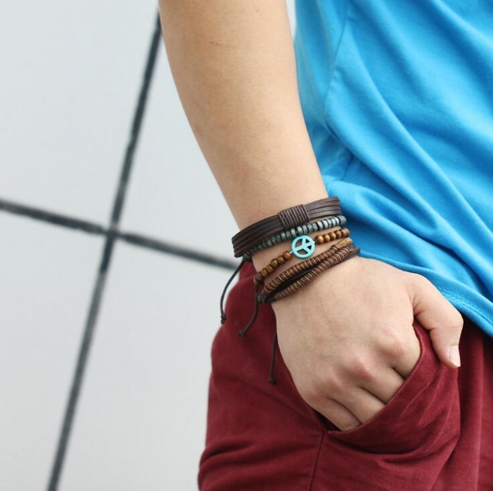 HN-1 Piece/Set New Handmade multi layer beads national style wind Bracelets Bangles Men Jewellery brown as picture