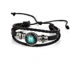 HN-1 Piece/Set New Lovers of twelve constellations leather Bracelets Bangles Women Men Jewellery Pisces as picture
