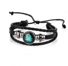 HN-1 Piece/Set New Lovers of twelve constellations leather Bracelets Bangles Women Men Jewellery Libra as picture