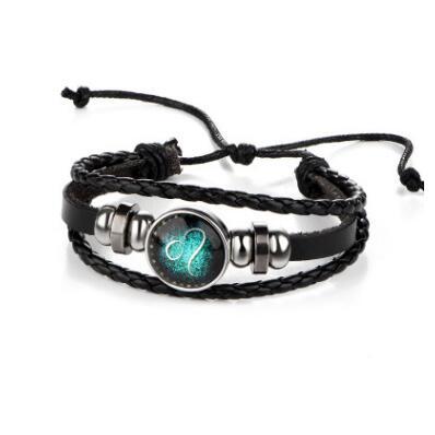 HN-1 Piece/Set New Lovers of twelve constellations leather Bracelets Bangles Women Men Jewellery Leo as picture