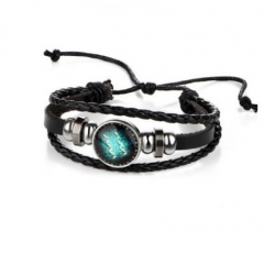 HN-1 Piece/Set New Lovers of twelve constellations leather Bracelets Bangles Women Men Jewellery Aquarius as picture